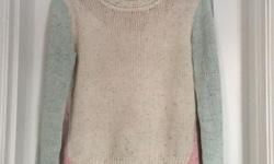 Blue, pink and white coloured sweater Size small but fits bigger Smoke free home