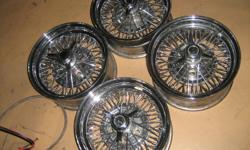 COMPLETE WITH NUTS& VALVE STEMS           TRU SPOKE WIRE WHEELS              15X8              [CHEV] BOLT PATTERN             Open to offers