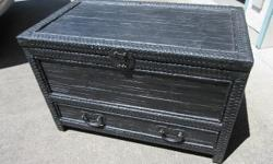 """Good condition trunk with lower drawer. Wicker and bamboo banding on wood. Very solid. Iron pulls and handles. Painted black. Measures 35"""" wide, 19 1/2"""" deep, and 23"""" tall. Call or text, and if you email please leave name and phone number."""