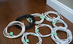I have some assorted length of high quality coaxial cable for TV to cable wall outlet. As seen on pictures. 1. 16Ft.s - $12. 2. 15Ft X 2 - $12 each. 3. 12Fts - $10 4. 8Fts X 3 - $6.0 each 5. 6Fts. -$2.0 All for $50.