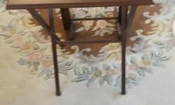 4 wooden TV tables with stand one table has a small scratch $35