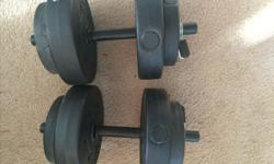 I am selling two 25ibs weights for $20.00 Located in Gatineau, pick up only. Respond to ad if interested