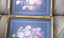 """Two beautiful antique framed prints, both 'bowls of flowers'. Original artist RA Foster, late 19th century / early 20th century school. Both approx 8"""" x 10"""". $59 for the pair."""
