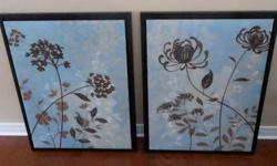 """Two whimsical floral prints on canvas surrounded by a walnut colour wood frame. 24""""x30"""". Great above a bed or in a living room/family room. Perfect condition."""