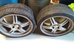 Two tires with 17inch, four bolt ENKEI rims. Moderate wear, one tire broken, sold as is. $40 OBO