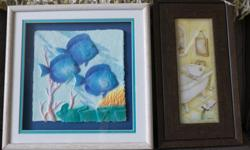 Two framed bathroom prints, excellent condition.