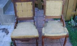 Antique mahogany lakeside chairs as is,just need upholstery. $70 the pair 22