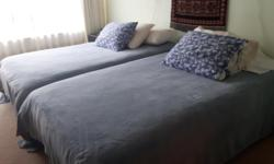 Two special beds, mattress and box, Sleep Country Canada, rails, two nightstands, floor lamp, bedding and sheets, mattress covers, all included. The size of the bed is very convenient for two siblings in a bedroom, two elderly, etc. The length is the same
