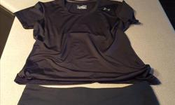 Under Armour T-shirt: - Heat Gear, fitted in black - Womens size Medium - Asking price: $12.00 Under Armour Yoga Short: - All Season Gear, fitted in black - Womens size Medium - Asking price: $20.00 Serious buyers only please.