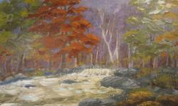 Deja Vu Antiques and Collectables Oil Paintings - Acrylic Paintings Subscribe to our feed. rss feed icon Unframed oil painting on board, - Autumn River landscape. - Unsigned. This very nicely executed acrylic painting on board is in very nice shape and is