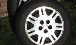 """I have for sale two 16"""" Tiger Paws with roughly 75% tread. They are mounted on alloy wheels off of a 1990 Chevy Lumina Eurosport. I've got the full set of rims if interested Bolt pattern 5x115mm. Looking to get $50.00 for the pair, Thanks!"""
