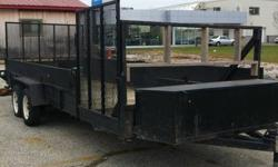 Just in, this trailer has rear ramp and side ramp, tongue mount toolbox, electric brakes and solid sides with plank pockets for additional height. Buy now, when you're looking for a deal like this in the spring, you won't find it! GREAT DEAL FOR START