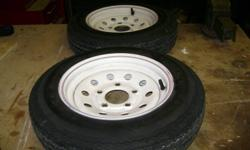 """Tires are 4.8 X 12"""" ,  five hole mounting, some weather cracking. Asking $30.00 each. Would make good spares."""