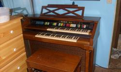 used organ for sale, nothin wrong with it works perfectly. comes with bench and music books inside it. contact at home        763-8328 ask for natasha or shelley