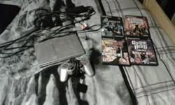 i am selling my ps2 slim with four games, one controller, and all the cables. For $60 firm on price. included games are: DragonBall Z: budokai Tenkaichi 2 Guitar Hero Encore: Rock the 80s Resident Evil 4 Guitar Hero 3: Legends of Rock For a quicker