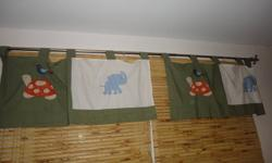 - curtains - crib skirt - hanging bag - bumper pads