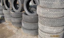 I HAVE LOTS OF USED TIRES FOR SALE STARTING AT 40.00 A TIRE! I HAVE SETS AVAILABLE IN 13'', 14'', 15'', 16'', 17'', 18'', 19'', 19.5'', 20'', AND 22''. I HAVE MUD AND SNOW TIRES AS WELL AS ALL SEASONS - ALL TIRES ARE IN GOOD CONDITION (ATLEAST 65% TRED)