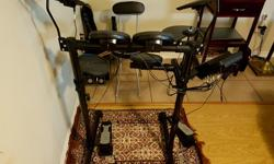 Purchased the drum set in January 2016 and used for about three months. Out of the box - brand new condition. Includes: - Yamaha DTX-400K Electronic Drum Set - Set of drum sticks - Drumming stool to sit on - Music sheet stand Specifications and Features: