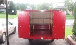 """Utility-Cargo trailer. 7""""X6"""" Almost All New ! 2 rear Aluminum framed Barn doors with 3 Locking Latches. 2 Roof mounted solar Panels Powering 2 Interior Lights. 3 New Tires and rims. All New exterior lighting and wiring. Tongue roller Crank. Steel"""