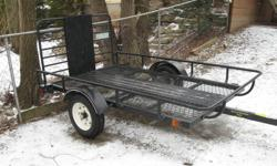Up for sale a utility trailer for ATV or snowmoble, less than a year old, used a few times 4 deer hunt, not used anymore, bought a truck, worth $1400.00  will tak e best cash offer..... Tim... at 705-742-6167 Thanks 4 looking........ trailer size is 5' x