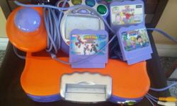 V-Tech VSmile Learning Game Console with 1 Controller and 4 Game This unit works great with kids helping them with there learning skills and paying attention. Unit works great, kids just outgrew it. The games included are Elmo's Big Discovery,Dora's