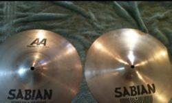 """14"""" Sabian AA regular hats(great condition NO damage) $165 obo 12"""" Sabian AA splash(NO damage great condition) $70 obo 18"""" Crash/Ride SR2 made by Sabian. (as new No damage)$85obo 17"""" Sabian AA Med thin crash cymbal was cracked just bellow the bell. The"""