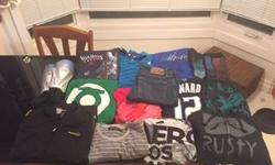 "LIST: 1. New ""Pro Touch"" Shin Guards 2. Adidas ""Adizone"" jacket 3. Green Lantern T-Shirt 4. Assassin's Creed III T-Shirt 5. The Flash T-Shirt 6. Dwight Howard Orlando Magic #12 T-Shirt 7. Black and white Aeropostale T-Shirt 8. ""Rusty"" Headphone Sweater 9."
