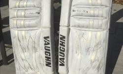 Used Vaughn V5 Velocity 7460 goalie pads with flex pac. Size 32 +1. Purchased in August 2014 so used for one season. These pads are in excellent shape. Intermediate size glove and blocker to go with them and sell as a set. Call or text for price. Leave a