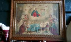 Framed Christian Picture, don't know the history or how old it is the price is good for the frame alone, if you don't like the picture. HOPEFULLY this will be a good buy for someone