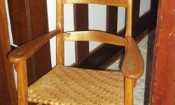 From eastern Canada, very old light colour rocking chair with rush seat, in very good condition for its age.