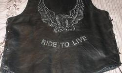 ------BRAND NEW MEN;S BLACK LEATHER VEST--BOUGHT IT BUT NEVER WORE IT--SOLD THE BIKE---SIZE M--BUT FITS LIKE A LARGE--$80. CASH--KEN OR MIMI--289-296-6038 KEN OR MIRIAM WOULD MAKE A GREAT CHRISTMAS GIFT PLEASE SEE OTHER ADDS FOR FURNITURE AND FINE ART