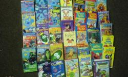 58 movies for cheap if you have a VCR.... veggie tales , winnie the pooh, blues clues sesame street,    lots of disney movies                                              ALL for 20.00...both pics 519-748-9684 ask for Tracy Visits