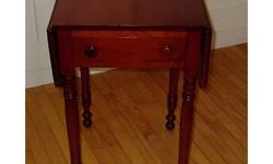 Victorian mahogany Pembroke table (circa 1880) with turned legs and single drawer. The Pembroke table is so named because the Earl of Pembroke is considered to have been the original designer of the table in the late eighteenth century. These small,