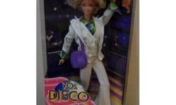 I am selling  a  70'S DISCO Barbie Doll by MATTEL. She comes in her original box UNOPENED. Barbie is dressed to boogie the night away in her bellbottom pants and stylish hair   ****I am starting to sell off all my entire barbie collection of over 100