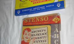 STENSO -1956 with 2 stencil boards BOX HAS 7 STENCIL BOARDS- 1950