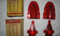 PAIR OF OEM 1954 CHEVROLET BELAIR TAIL LIGHT LENSES MADE BY GUIDE CORP I FOUND THEM IN MY ATTIC BACK IN 1981 WHEN I WAS RENOVATING THEY ARE PACKAGED IN LYNX EYE BLUE DOT BOXES THAT THE PREVIOUS OWNER REPLACED. THESE ARE THE ORIGINAL TAIL LIGHTS THAT HE