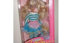 This auction is for a PARTY TEEN, 1987 TEEN FUN SKIPPER barbie doll from MATTEL. Contents of box include: Skipper dollm, Apron, Petticoat/Skirt, Tights, Shirt, Pantyhose, 2 SOFT DRINK CANS, 2 Ice cream sodas, Towel, 2 Napkins, Shooes, Brush, Booklet. She