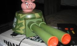 Vintage 1990 ROAD HOG The Electric Road Warrior (Mounts on the roof of your car) , The entire turret Swivels left and right also the barrels move too! with 8 different sounds.  Its controlled by a handheld control unit and 6ft cord.   It has never been