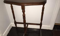 "Vintage 1/2 round end table. Walnut. Good condition. 24"" tall x 22 1/4"" wide x 10 3/4"" front to back."