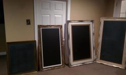 """A: 26"""" x 32"""" Chalk Board w/Gold and Black Frame (Smallest) $99.00 obo B:27"""" x 47"""" Chalk Board Gold $300.00 obo C: 36"""" x 52"""" Chalk Board Gold/Cream/Black $350.00 obo D: 31"""" x 55"""" Chalk Board Cream $325.00 obo All boards can be hung vertically or"""