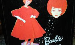 """Vintage 1965 Barbie doll case measures 13"""" L x 10 1/2"""" W x 2 1/2"""" D.  Tear in vinyl at bottom (see pics) but otherwise in good condition.  Asking $15 firm."""