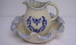 """Vintage Wash Basin with Water Pitcher. In excellent conditon with all over crazing due to age.   Says: GENUINELY HANDCRAFTED POTTERY  ELLIS PROD. POTTERY - MARSHALL, TX..  Ruffled Bowl is 11-1/4"""" x 3-7/8"""" tall.  Pitcher is 7-1/2"""" tall. Very Exquisite."""