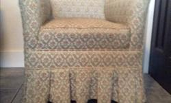 Small comfortable vintage chair. It's very old with the upholstry wearing out but it's still charming and nice to sit in. Would fit nicely in a small bedroom.