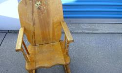 """Antique child rocker approx 50-60 years old 15"""" wide x 24"""" high x 18"""" deep   I am doing this for a friend and item is located in simcoe.  If you are interested in looking at it or purchasing it then please give me your phone number and I will pass it"""
