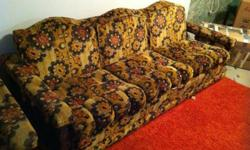 A set of retro furniture - couch, loveseat and chair. This is very retro but is in such great condition I can't just throw it out but we do not have enough space. This furniture would be awesome for a cabin or a home if you wanted to get it recovered!