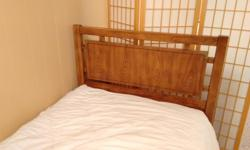 Mid-century Dixie Campaigner bed in excellent condition Ideal for youth/child's room. Purchased in mid-1970, one owner. Solid wood headboard with brass trim, original finish and the original hardware. Headboard for twin bed 42?wide � 1.75?deep � 41? tall