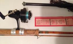 Lot of vintage tackle as shown. Split cane spinning rod with early Diawa reel, Allcocks hook pack and fold-apart trout net. Cool for man-cave at reasonable amount.