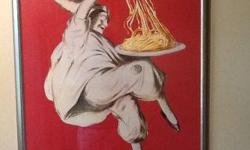 """Excellent condition. """"Pâtés Baroni"""" Italian spaghetti pasta advertisement poster. Includes glass/frame. Ready to hang in your home."""
