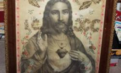"Vintage Jesus Picture In Old Frame 1910 - frame has small chip at bottom -    Frame is definatelly a Vintage one - someone has added some     extra glitz inside -      back cover  is somehow sealed shut - has glass .   Size: 32""X25"" - Great Item for a"