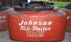 4 US GALLON (3.3 IMPERIAL GALLON) PRESSURE TANK SUITABLE FOR 1950 TO 1960's JOHNSON OR EVINRUDE OUTBOARDS ORIGINAL CONDITION $50 FOR EACH TANK
